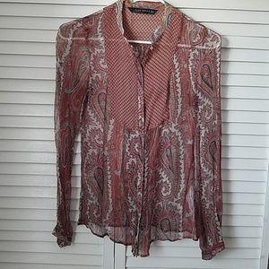 Zara sheer paisley blouse. small